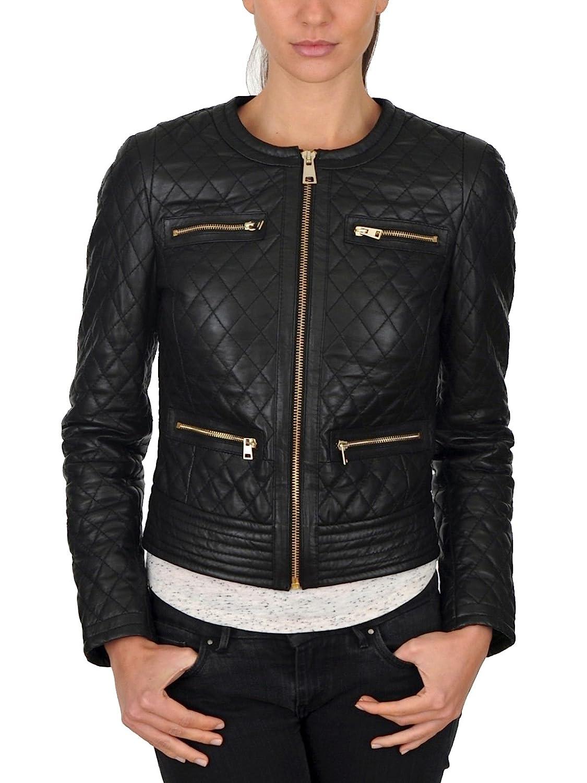 Leather Lifestyle Womens Lambskin Genuine Black Leather Jacket Slim Fit Biker Motorcycle Stylish Coat #WJ60