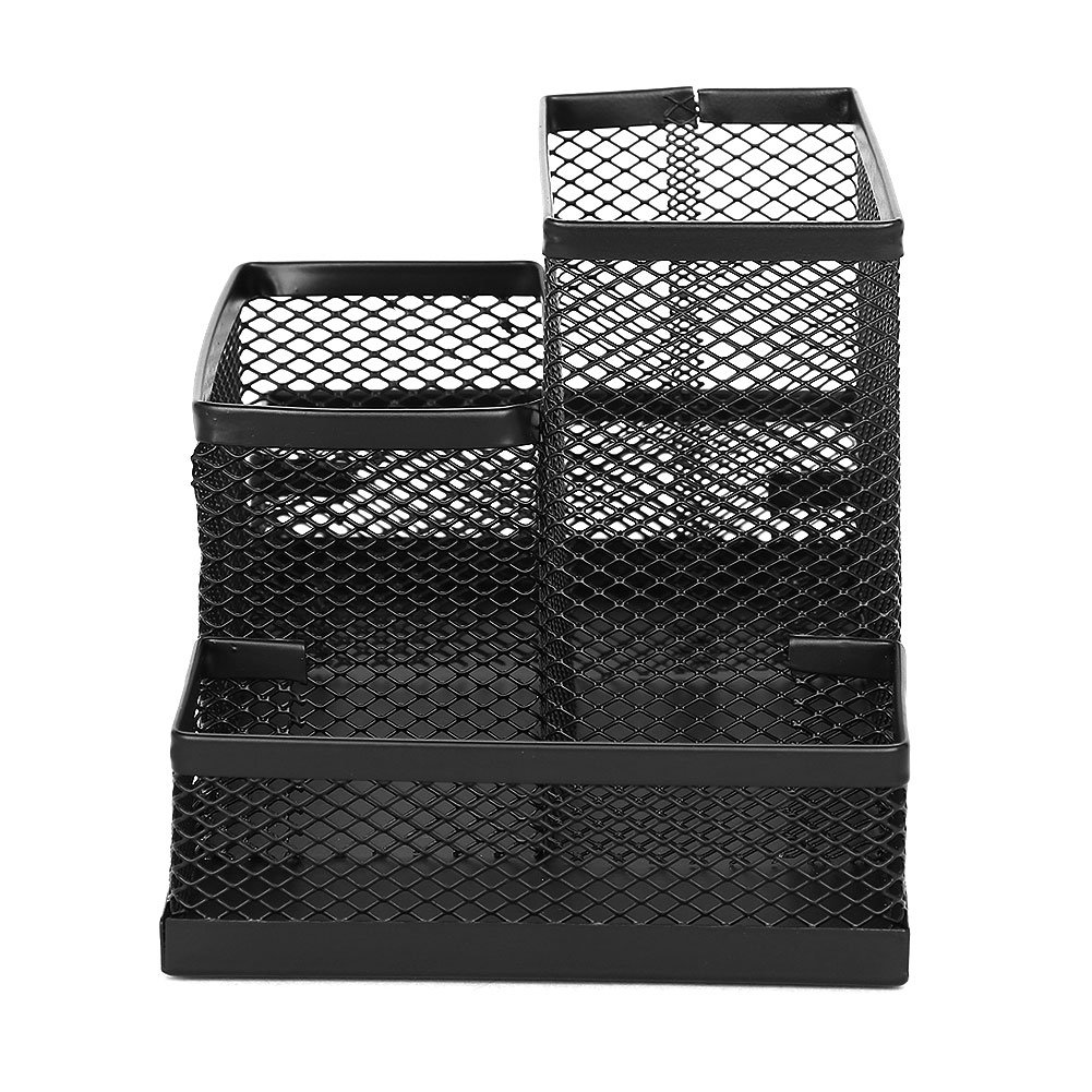 Mesh Pen Holder Desktop Metal Pencil Case Organizer 4 Compartment Accessories Storage Stand Office Home School Caddy Box Cards Rack by ITODA (Image #3)