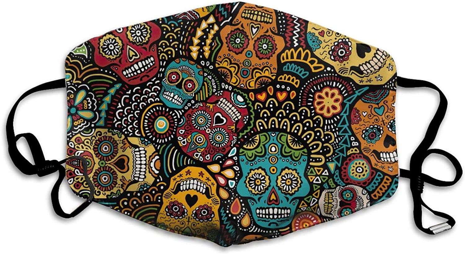 SUGAR-SKULL Face C-over Day of the Dead Cloth Face Madk decor Washable & Reusable Scary Scarf for Adults Kids Christmas Decorations