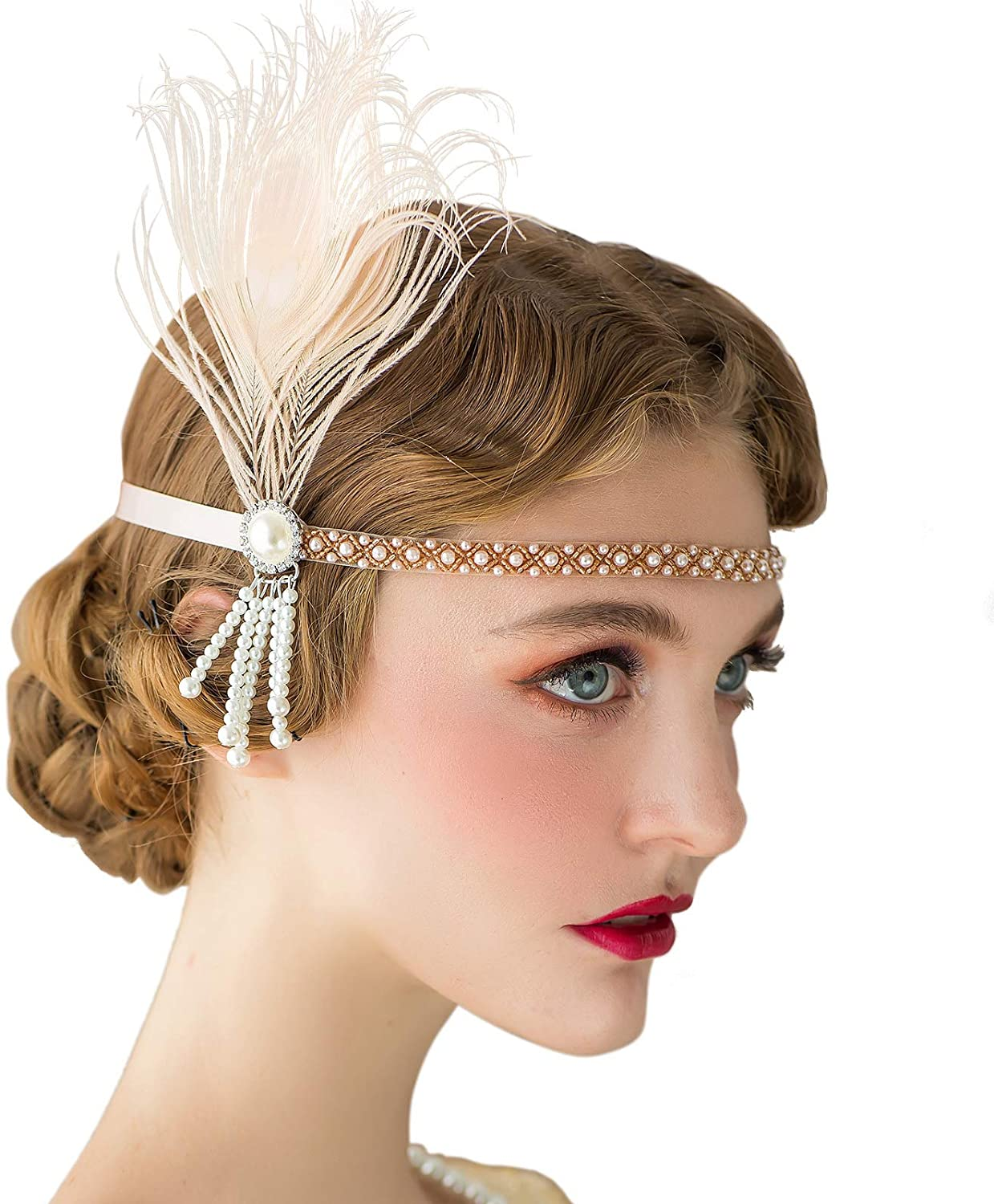 1920s Headband, Headpiece & Hair Accessory Styles SWEETV 1920s Headband Flapper Headpiece The Great Gatsby Party Accessories Roaring 20s Hair Accessories for Women & Flapper Girls £12.99 AT vintagedancer.com