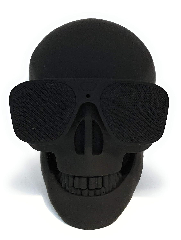 Altavoz Calavera Skull Bluetooth portatil, Tarjeta SD, Pendrive USB, Auxiliar (Negro)
