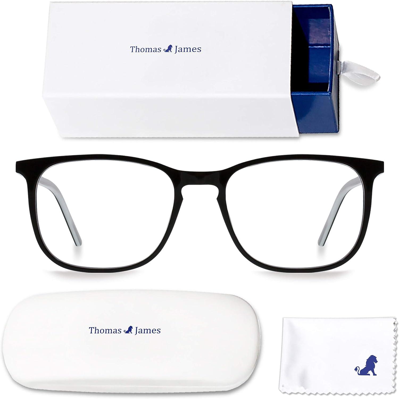 Thomas James Gafas Anti-Luz Azul y Protección UV con Lentes Transparentes para Proteger los Ojos, Evitar la Fatiga Visual, la Migraña y los Ojos Secos
