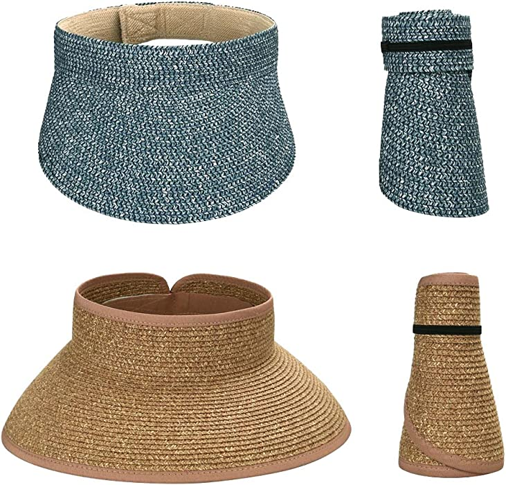 9331a1b2 BMC 2pc Roll Up Collapsible Wide Brim and Visor Style Straw Hats: Blue +  Camel