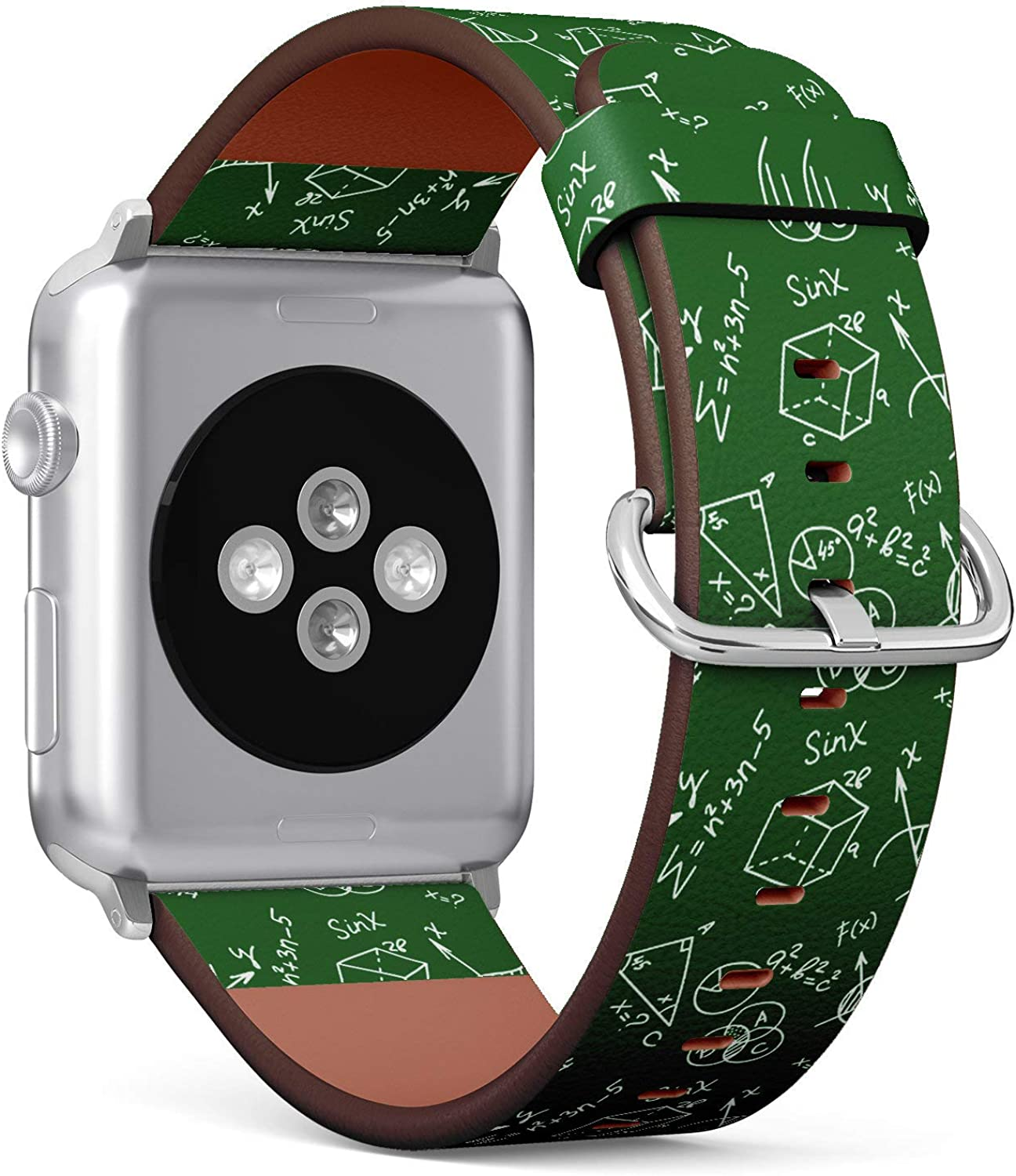 ( Maths ofmula Pattern )Patterned Leather Wristband Strap Compatible with Apple Watch Series 4/3/2/1 gen ,Replacement of iWatch 38mm / 40mm bands
