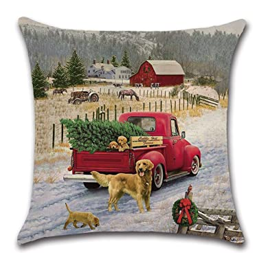 Farmhouse Christmas Pillow Cover Puppies and Christmas Tree in Red Car Pillow Cushion Case Throw Pillow Case Cushion Cover 18  x 18  45cm x 45cm