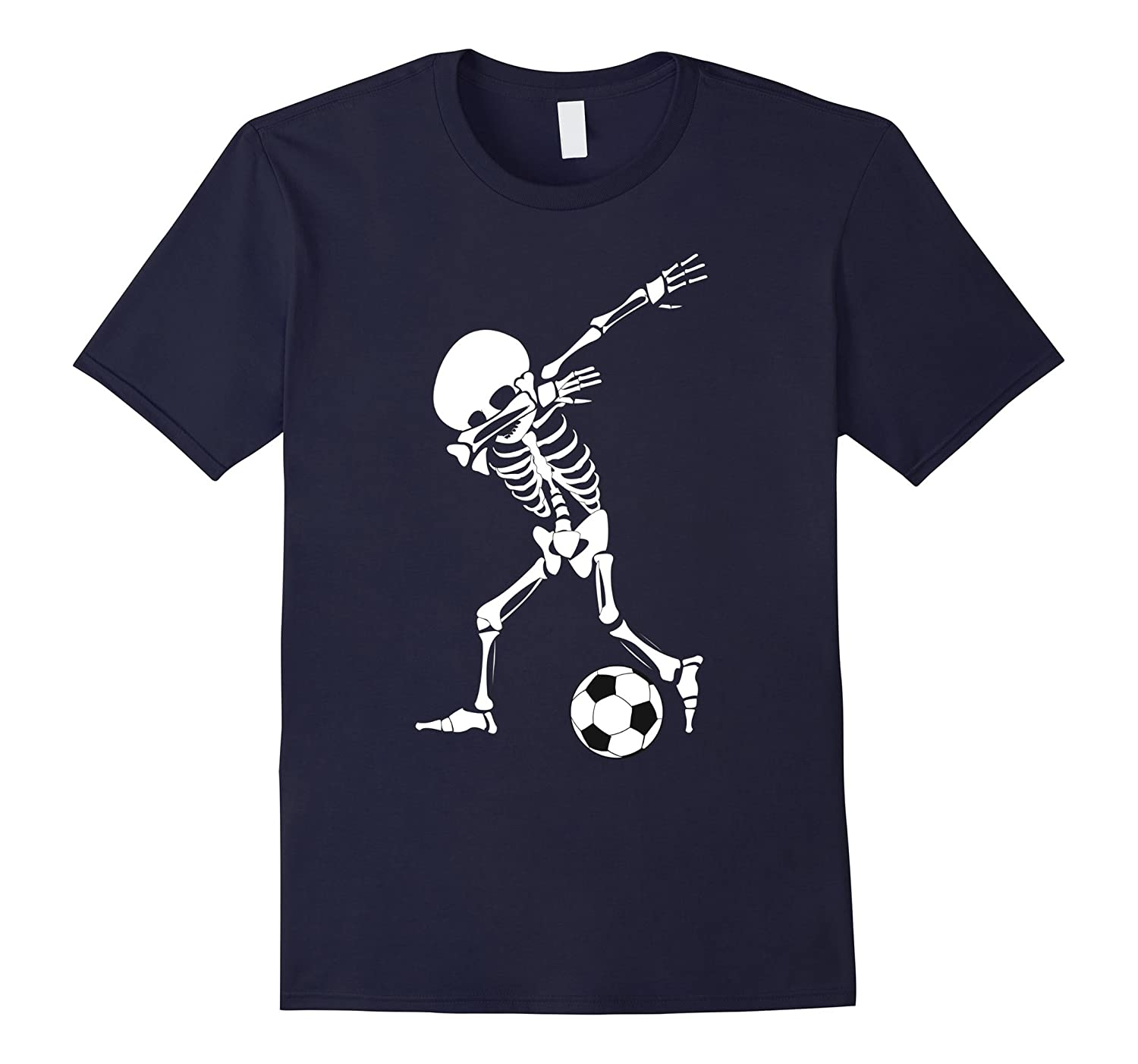 Dabbing Skeleton Soccer Shirt - Funny Halloween Dab T-Shirt-RT