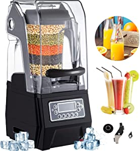 VEVOR 110V Commercial Smoothie Blenders 1.5L/50.7oz 1500W Countertop Silent Blender with Sound Shield, Quiet Blender Self-Cleaning, Includes Multifunctional 2-in-1 Wet Dry Blades