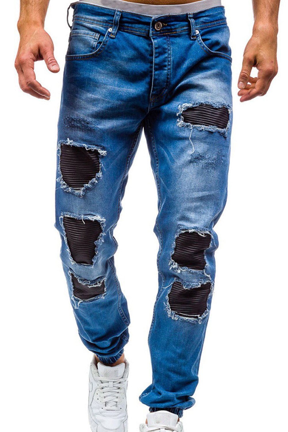 Men's Skinny Slim Fit Straight Ripped Destroyed Distressed Zipper Stretch Knee Patch Denim Pants Jeans (30, Z-Blue)