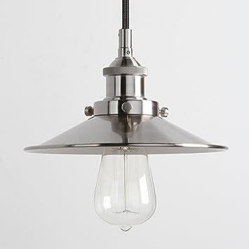 metal shade pendant lighting. pathson 8.7\u201d industrial vintage modern rustic metal shade pendant light, loft bar kitchen hanging lighting