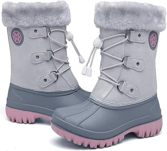 Winterstiefel Kinder, Gummistiefel Jungen Mädchen Schneestiefel Wasserdicht Warm gefütterte Schlupfstiefel Winter Outdoor Trekking Stiefel Schuhe