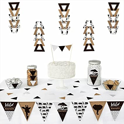 2b89c9506bc0f Amazon.com  Big Dot of Happiness Wild Safari - Triangle African Jungle  Adventure Birthday Party or Baby Shower Decoration Kit - 72 Piece  Toys    Games