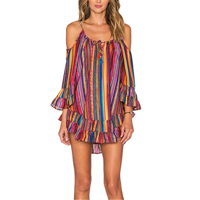 0bd35b08bca48 Marvin Cook Women s Summer Cover UP Rainbow Print Fringed Beach Skirt Dress  Mini Dress Red S