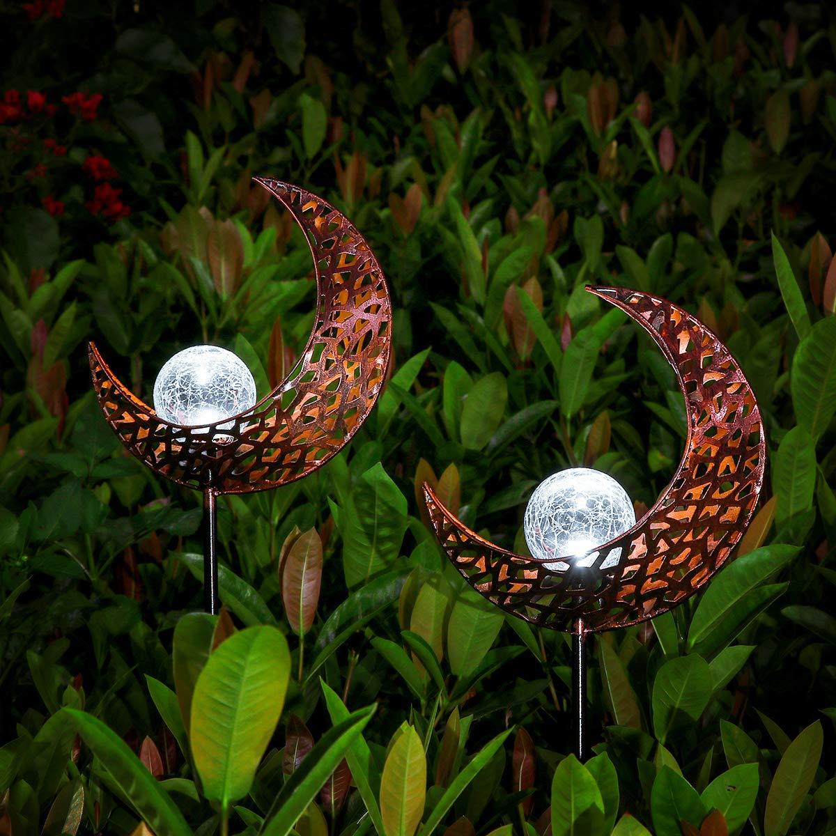 YUNLIGHTS 2pack Garden Solar Lights, Moon Crackle Glass Globe Outdoor Solar Lights, IP64 Waterproof Solar Powered Garden Stake Lights for Garden Patio Backyard Pathway Decoration, White