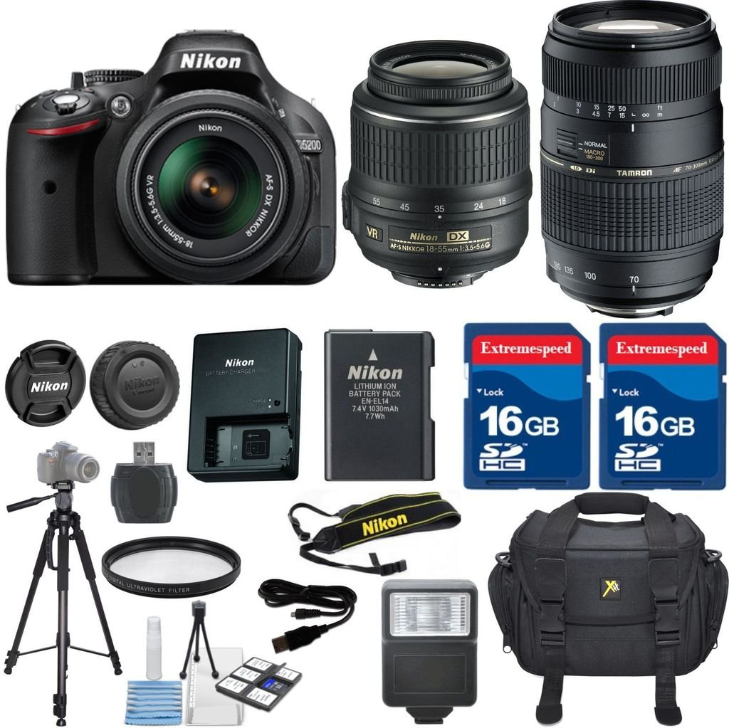 Nikon D5200 Dslr Camera With 18 55mm Lens Tamron 70 300mm Zoom Lens 2pc 32gb Memory Sd Cards Accessory Kit International Version No Warranty Books
