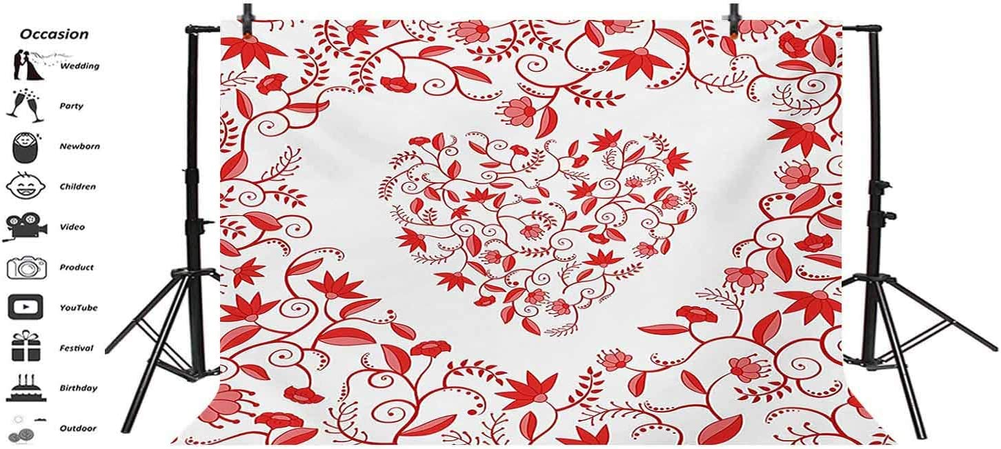 Valentines Day 10x8 FT Vinyl Photo Backdrops,Paisley Floral Details with Leaves and Roses in a Shape of Heart Frame Love Print Background for Child Baby Shower Photo Studio Prop Photobooth Photoshoot
