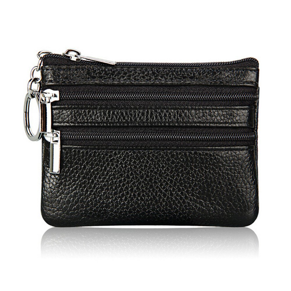 Boshiho Cowhide Leather Coin Purse Dual Zipper Change Holder Wallet with Key Ring Keychain (Black)