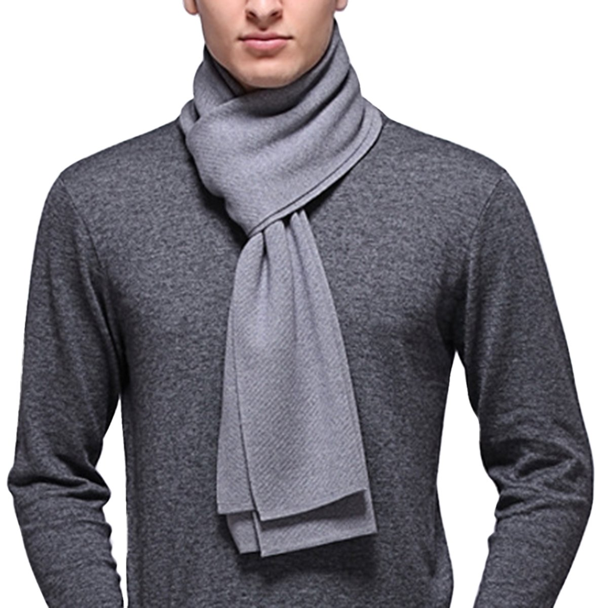 PENAGY Mens Winter Warm Long cashmere Thick Scarf Solid Color Soft Australian Wool Scarves Shawl Gray