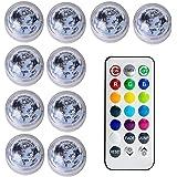 Ccoco Pacote com 10 luzes subaquáticas à prova d'água, lâmpadas de mergulho coloridas submersíveis com controle remoto RGB 13