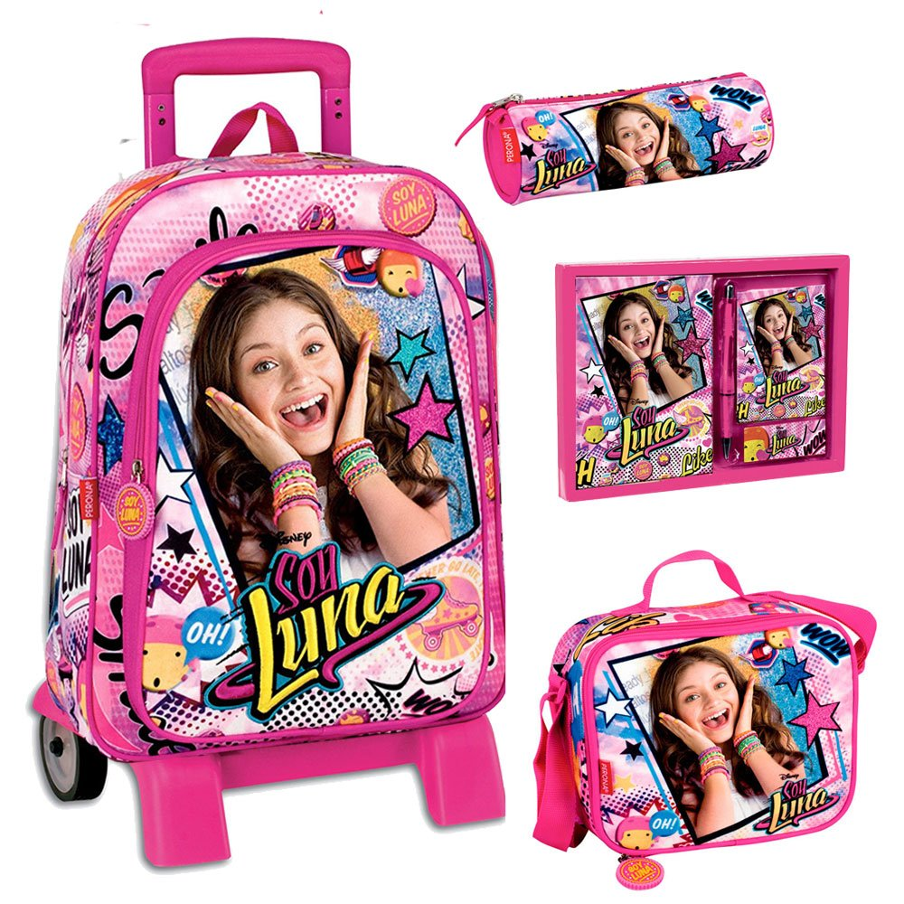 School Bag Trolley Set Soy Luna Disney Backpack LunchBag Pencilcase