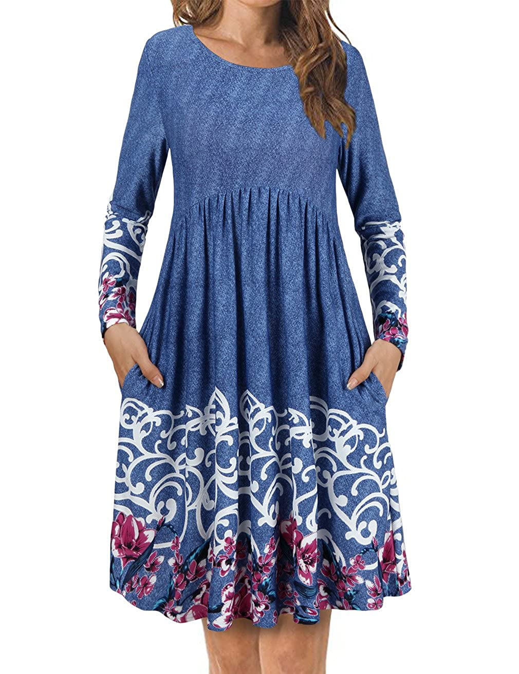 bluee FANSIC Women's T Shirt Dress with Pockets,Long Sleeve Floral Pleated A Line Swing Dress