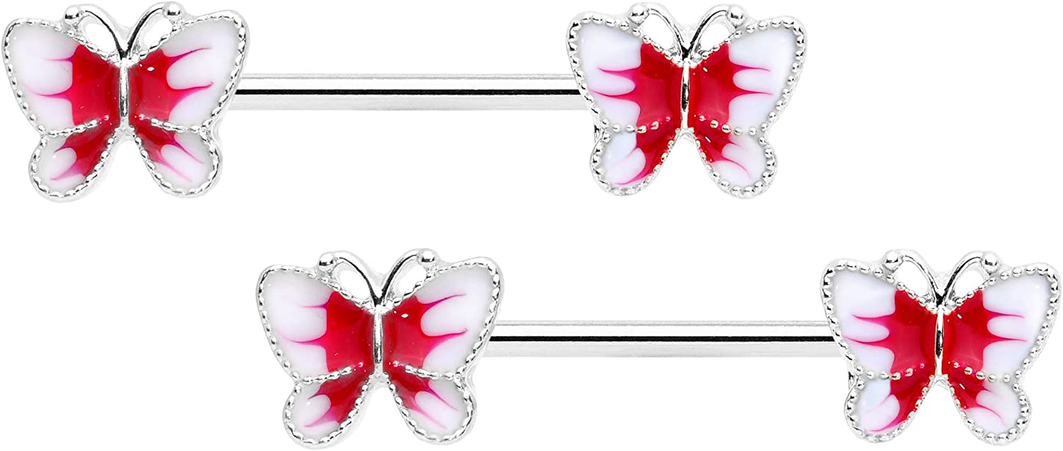 Body Candy 14G Womens Nipplerings Piercing Steel 2Pc Color Butterfly Nipple Ring Set 9//16