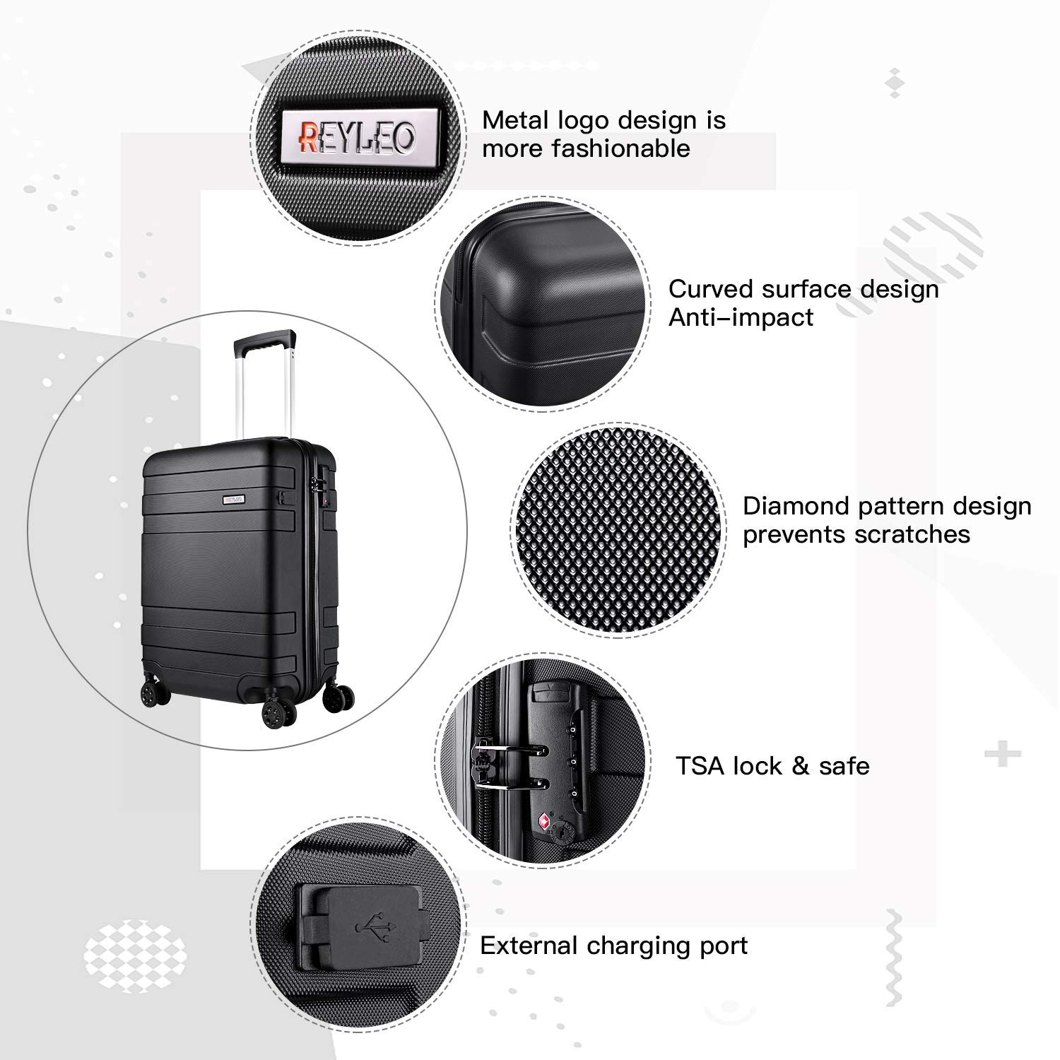 REYLEO Lightweight ABS 21 Inch Hard Shell Travel Carry On Cabin Hand Luggage Suitcase with 4 Wheels and USB Charging Port Travel Bag with TSA Lock Silent Wheels 55CM - 36L