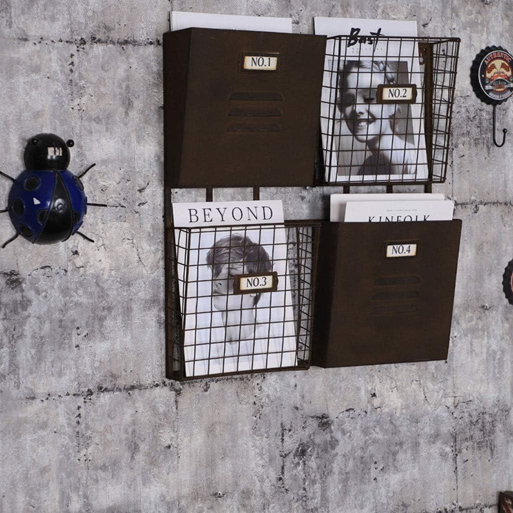 Adapt/é /À La Soci/ét/é /École Bar Support De Rangement Daffichage Magazine Rack M/étallique Mural 4 Emplacements Sur Rack Industriel R/étro De Stockage Salon