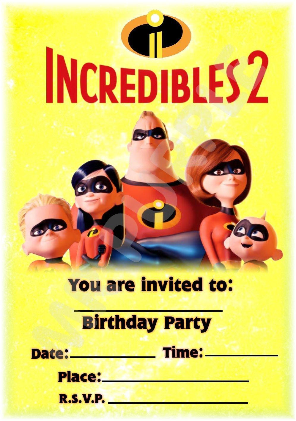 Disney The Incredibles 2 invitaciones de fiesta de cumpleaños – diseño de retrato de fiesta decoración/accesorios (paquete de 12 invitaciones A5) WITH Envelopes MrPurple