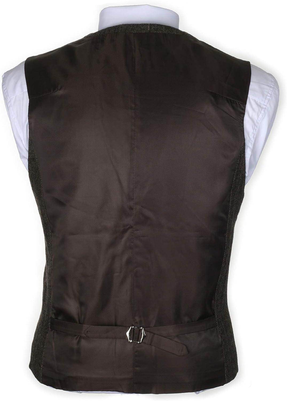 Ruth/&Boaz 3Pockets 4Buttons Wool Herringbone//Tweed Tailored Collar Suit Waistcoat