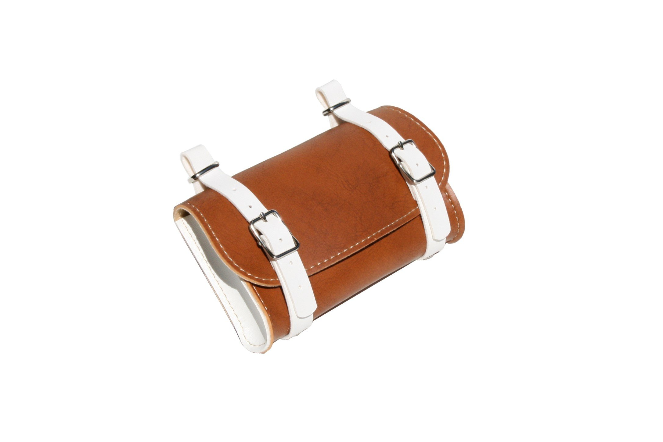 Rear Saddle Bicycle Bag Classic. Bike pannier. Cycling storage. Vintage Style. Simil Leather. Color Honey/White. 100% MADE IN ITALY
