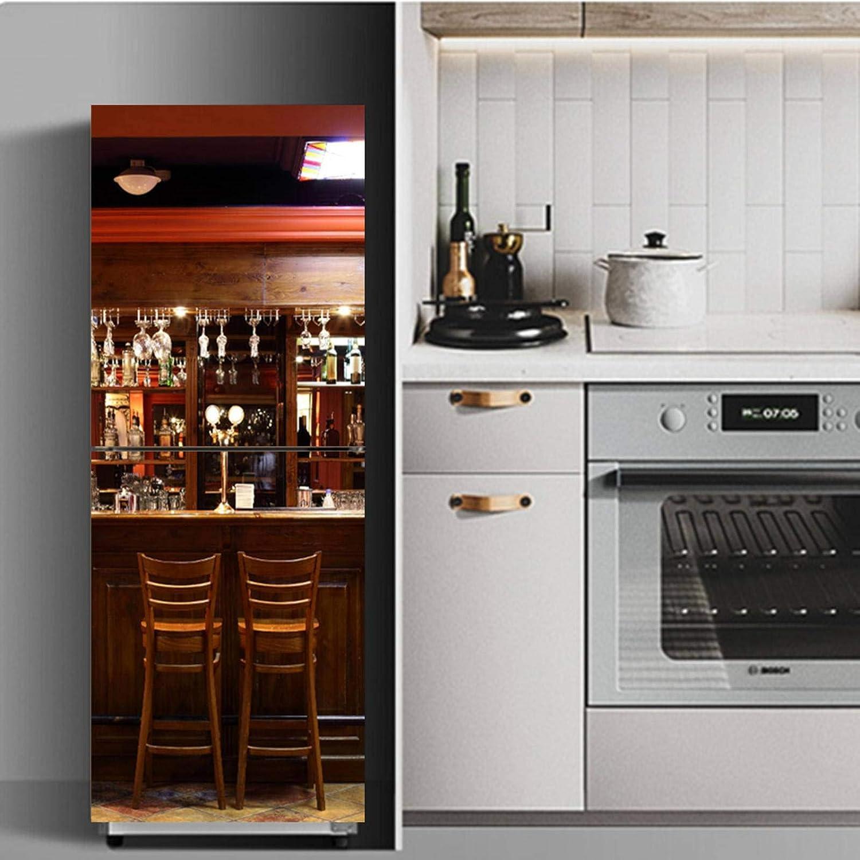 None/Brand 3D Self Adhesive Fridge Door Cover Wallpaper Fridge Wrap Sticker Food Fruit Freezer Door Full Stickers Decals Family Breakfast