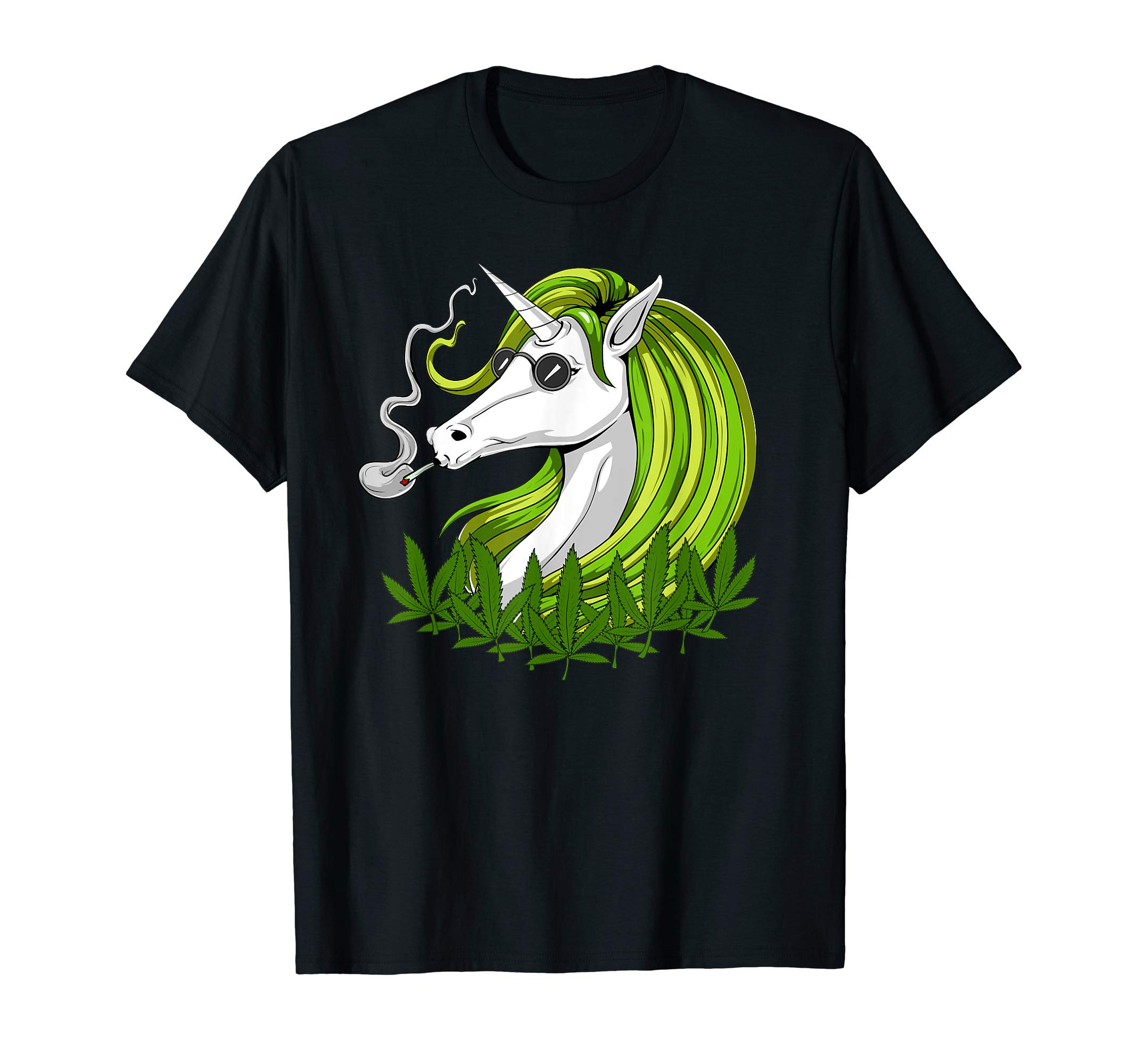 Unicorn Hippie Smoking Weed Cannabis Leaves Marijuana Women T-Shirt