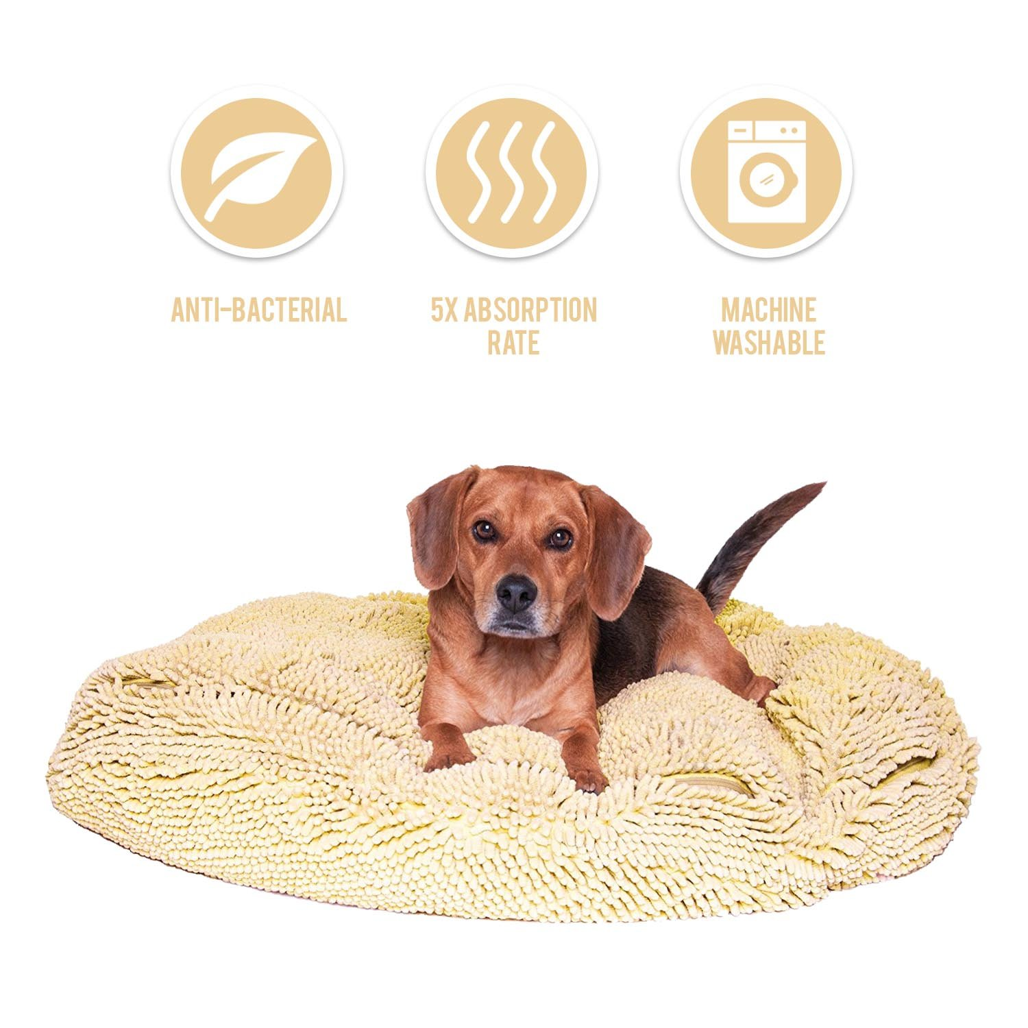 My Doggy Place - Ultra Absorbent, Soft Comfort, Microfiber Chenille Dog Bed Cushion Mat, Durable, Quick Drying, Washable, (Oatmeal 36'' inches)