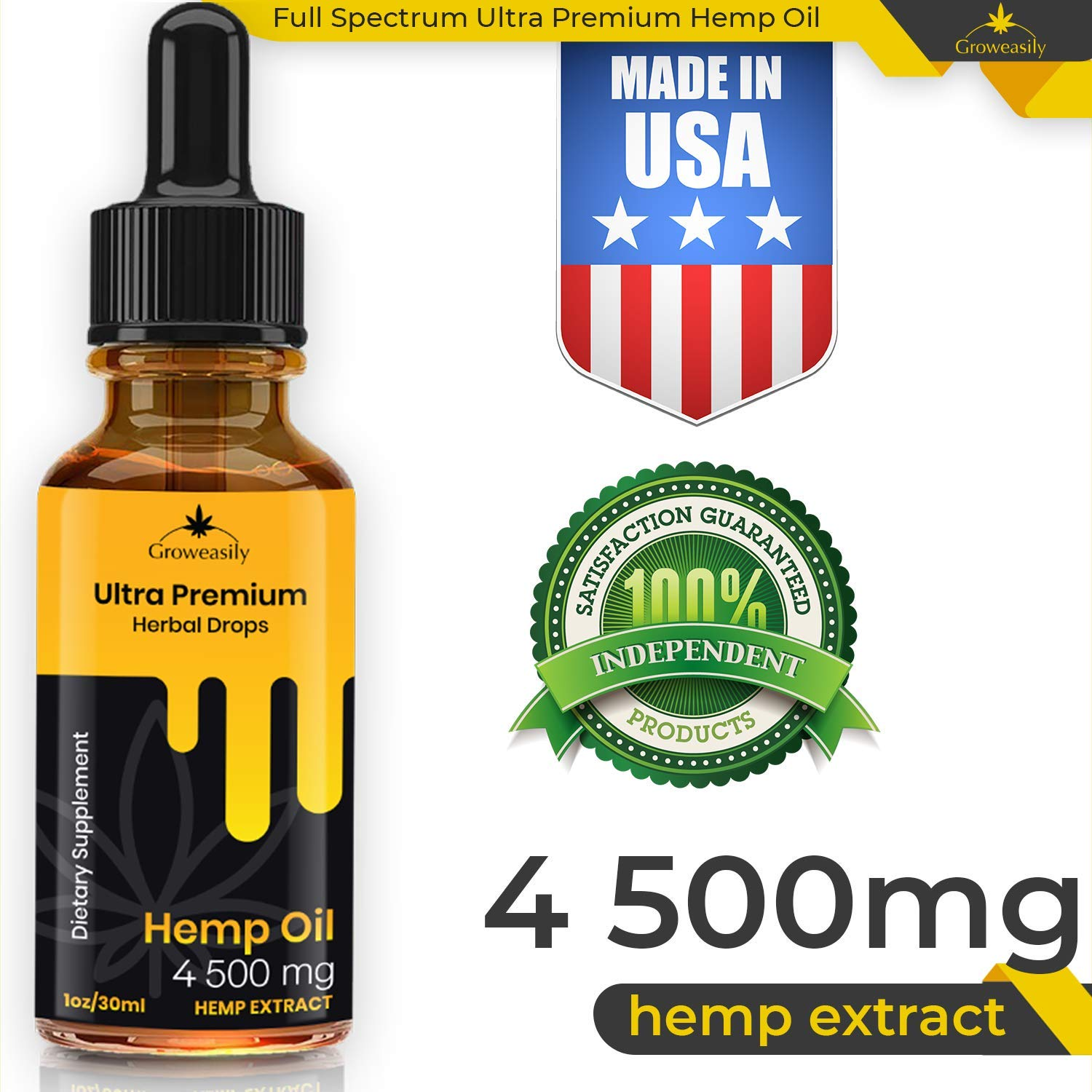 Hemp Oil Full Spectrum Extract 6500mg, All-Natural Drops for Pain, Stress, Anxiety Relief, Deep Restful Sleep