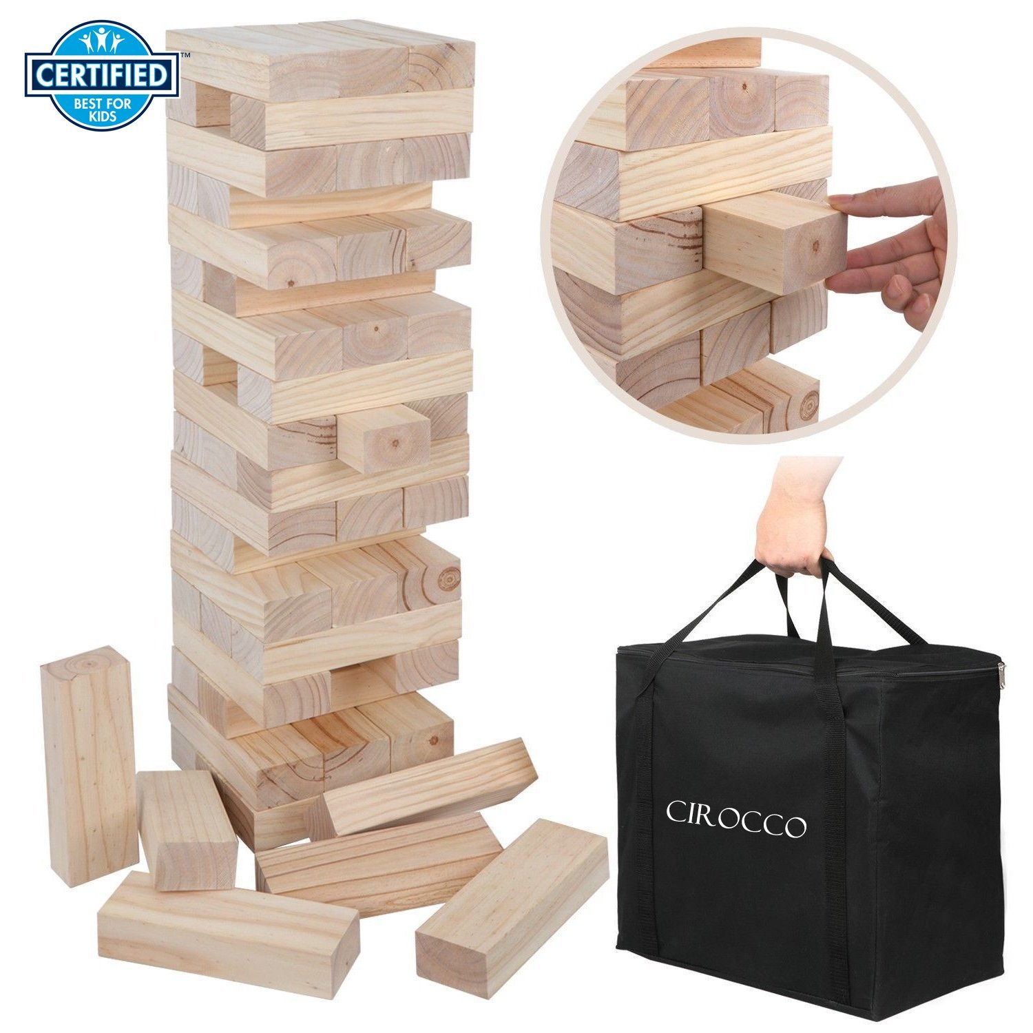 Cirocco Wooden Jumbo Topping Tower with Heavy Duty Storage Bag – Giant Wood Block Tower Game | 54 Block Hardwood Pull and Stack for Friends Family Outdoor Kids Adult Teenager – Enhance Concentrations