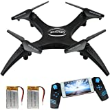 FPV Version Rc Drone with HD Live Video Camera, Quadcopter Headless Rotation Mode Remote Control DroneHelicopter with 2 Battery and 360 Flip Stunt, 10-12 Mins Flying Time Drones for Beginners Racing
