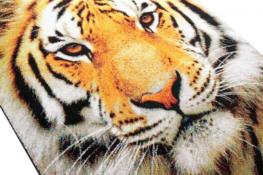 Designer Teppich Kurzflortteppich Tiger Tiger Tiger Motiv orange creme schwarz Größe 120x170 cm 23ed24
