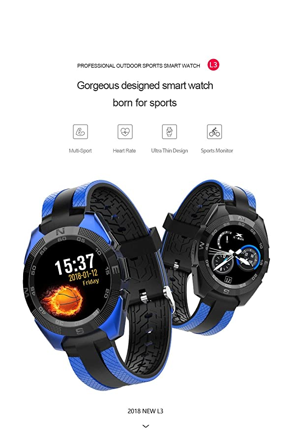 L3 Smart Watch MTK2502 Heart Rate Monitor Smartwatch Message Sync Call Reminder Remote for iOS Android Phone