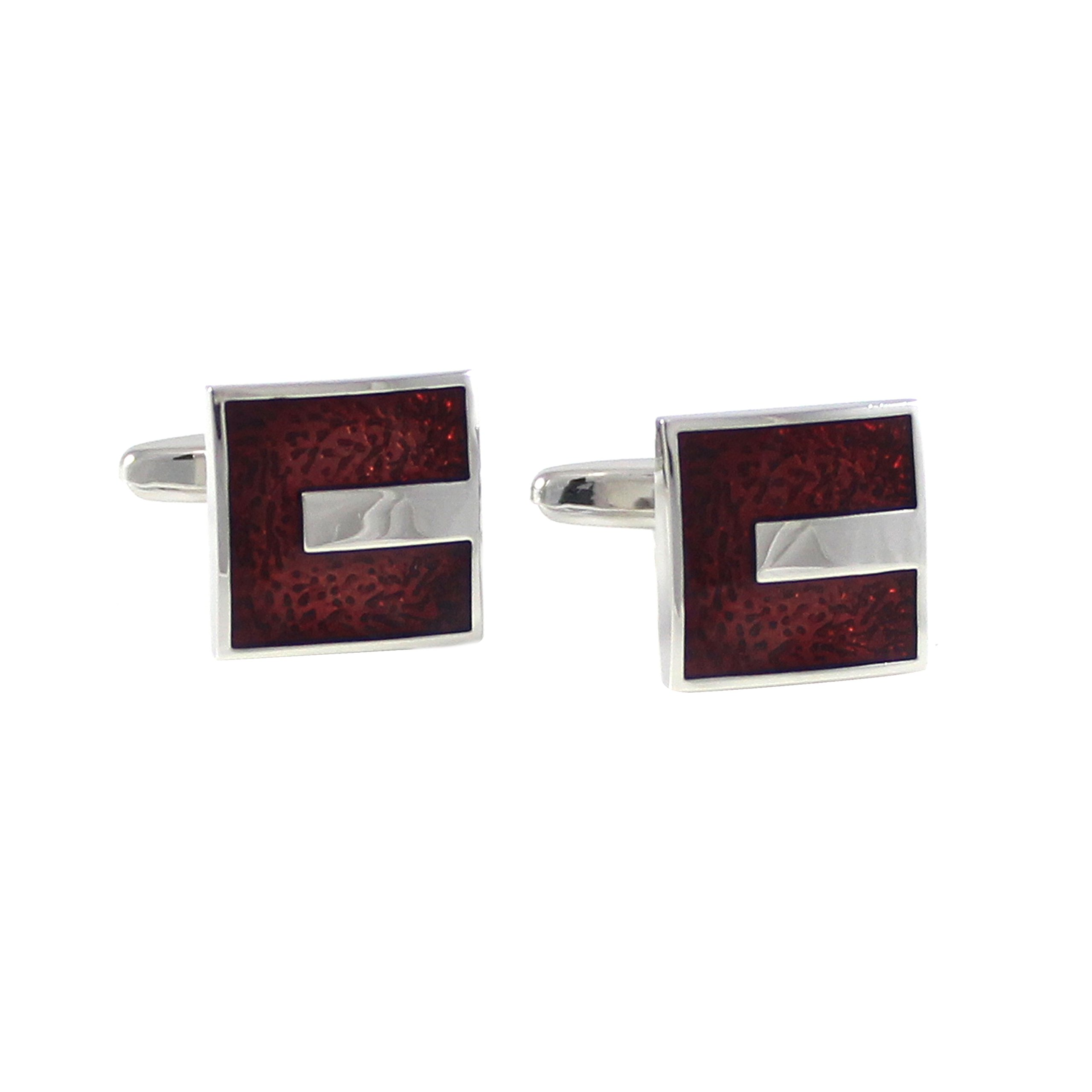 MENDEPOT Rhodium Plated Classic Transparent Burgundy Epoxy Cufflinks With Gift Box