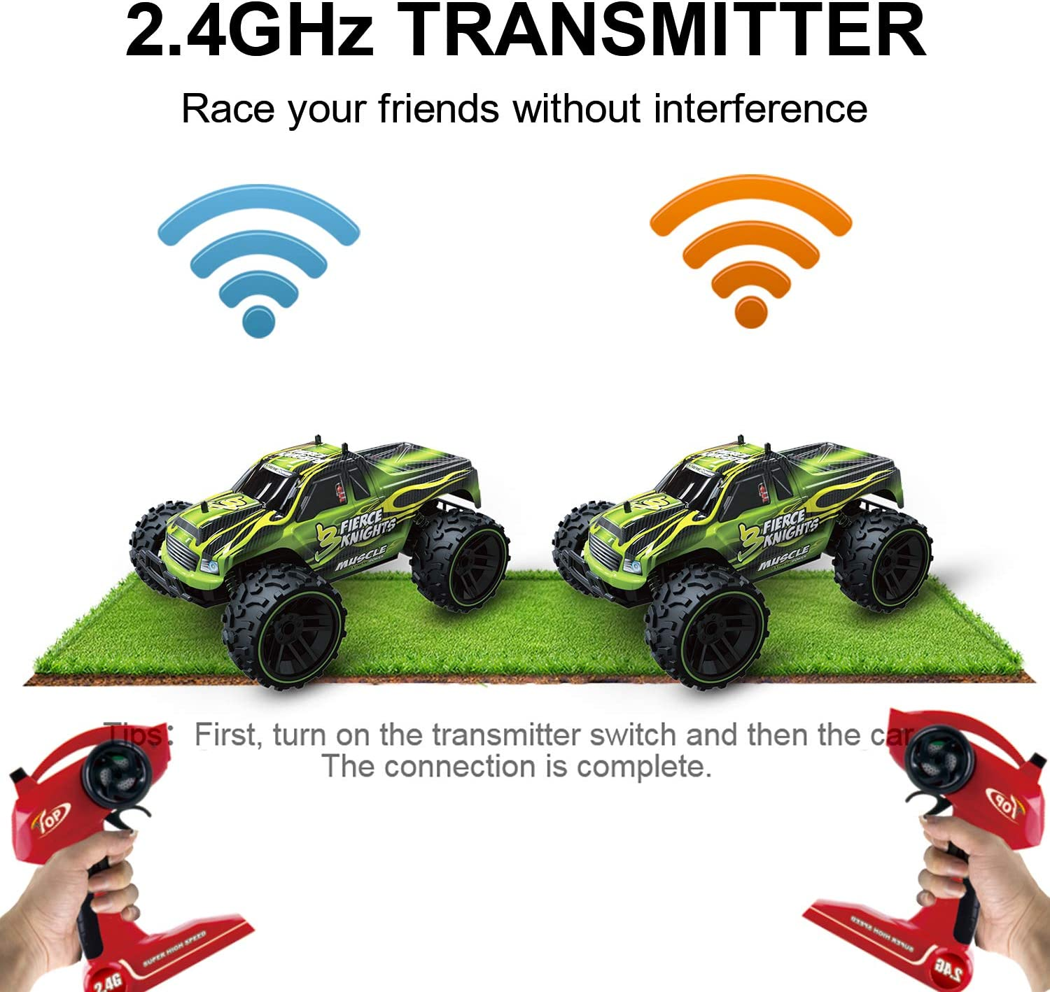 Jelly Play RC Car Remote Control Car,1:16 Scale 2WD High Speed Off Road Truck,2.4Ghz RC Buggy with 2 Rechargeable Batteries for 40 Min Play,Toy Gifts for Boys /& Girls
