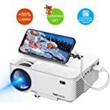"Mini Projector, T TOPVISION Projector with Synchronize Smart Phone Screen +50% Lumens, Supported 1080P, 176"" Display, 50,000 Hours Led, Compatible with Fire TV Stick/HDMI/VGA/USB/TV/Box/Laptop/DVD"
