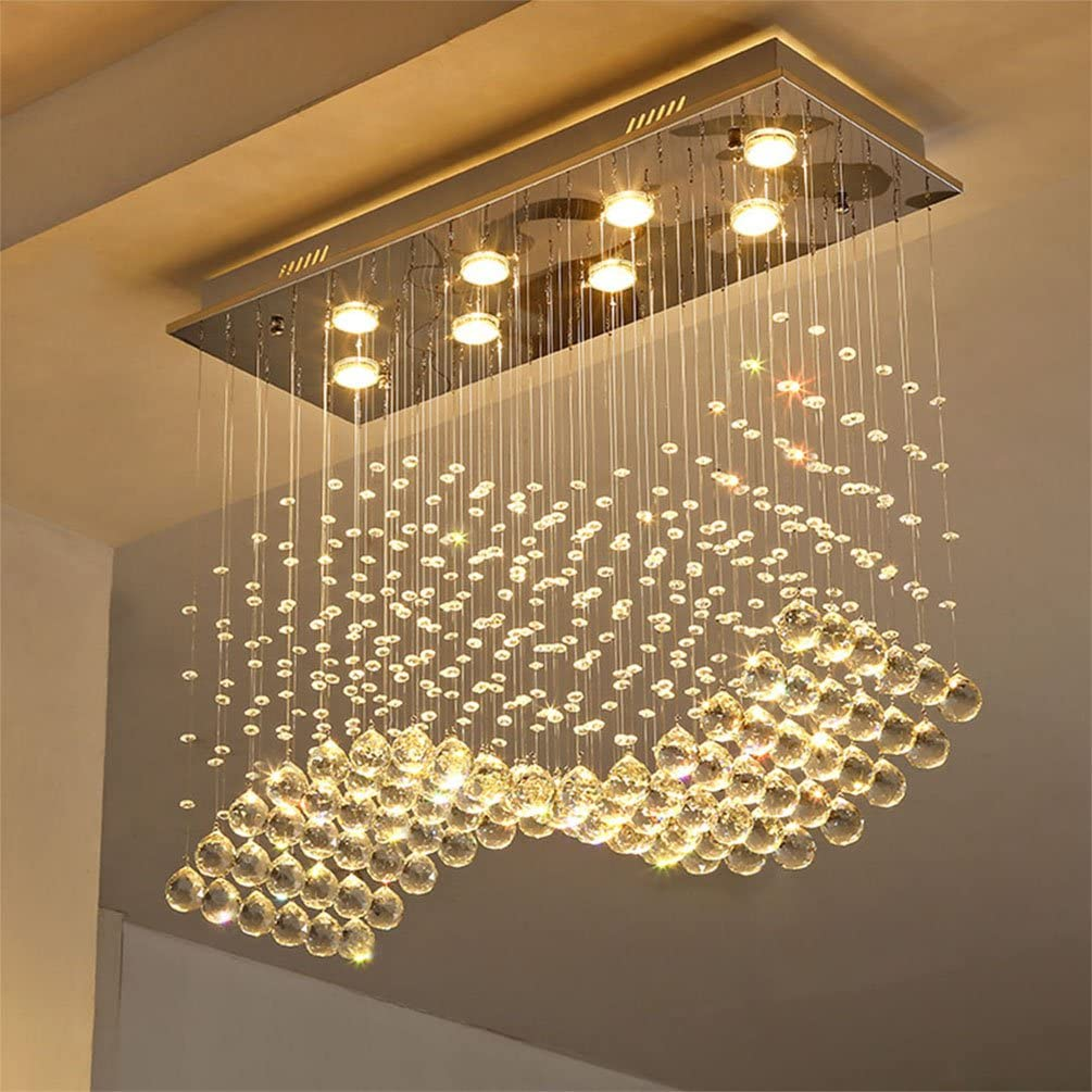 Linght L31.5 X W11.8 X H27.5 Contemporary Crystal Rectangle Chandelier Rain Drop Crystal Ceiling Light Fixture