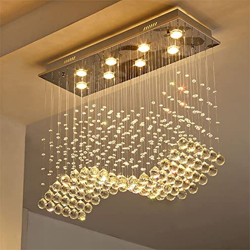Linght L31.5″ X W11.8 X H27.5″ Contemporary Crystal Rectangle Chandelier Rain Drop Crystal Ceiling Light Fixture
