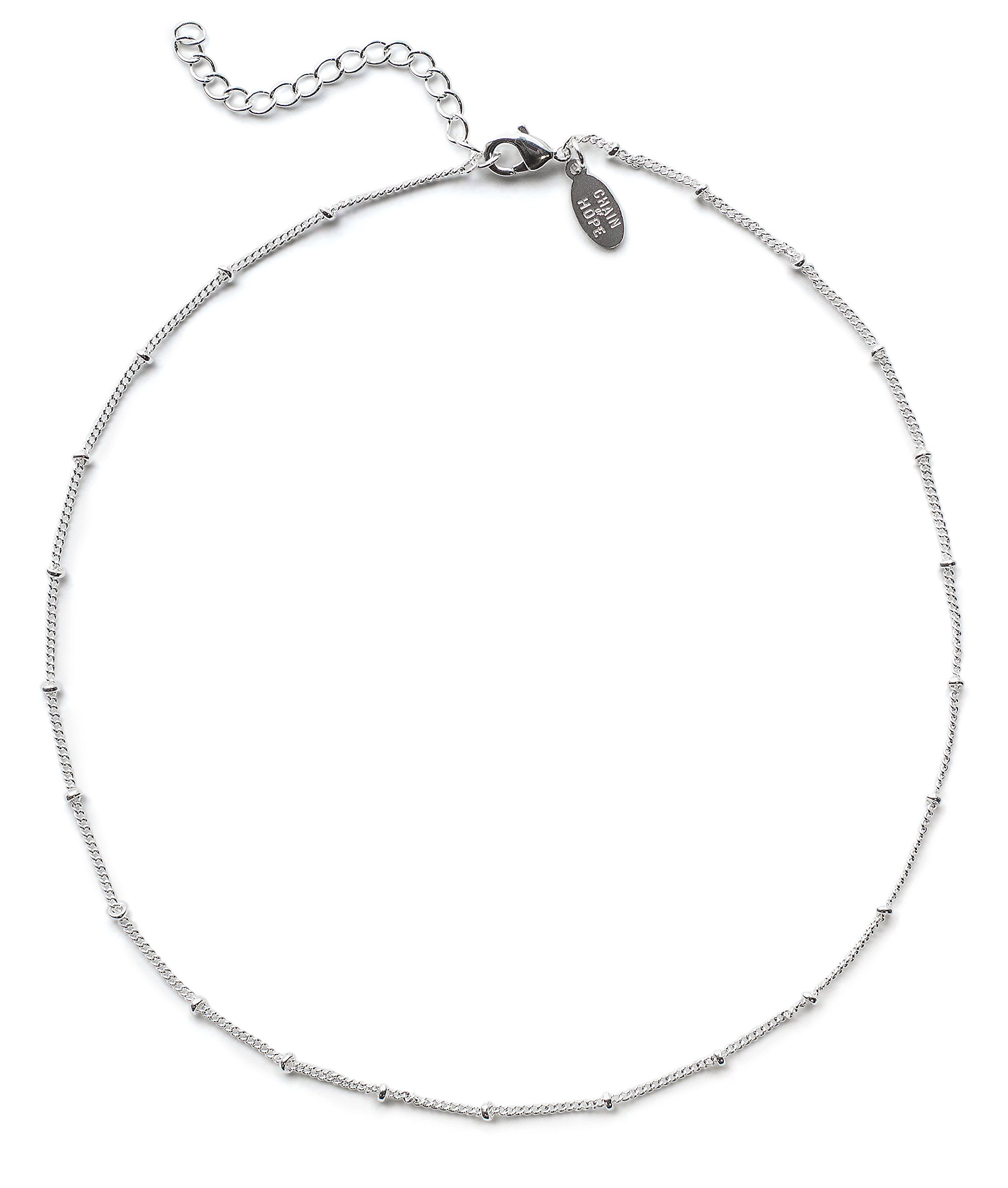 Choker Necklace in Sterling Silver: Beaded Satellite Chain Chokers Dainty Necklaces for Women