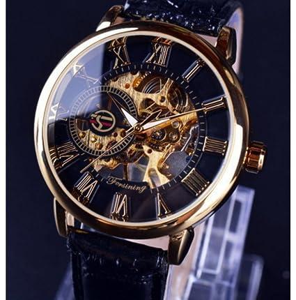 Forsining Classic Steam Punk Bling Reloj de pulsera mecánica mano de viento Skeleton Unisex, Black