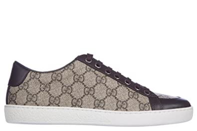 Gucci Womens Shoes Trainers Sneakers Fabric gg Supreme mirò Soft Brown US Size 8 323793 KHN80