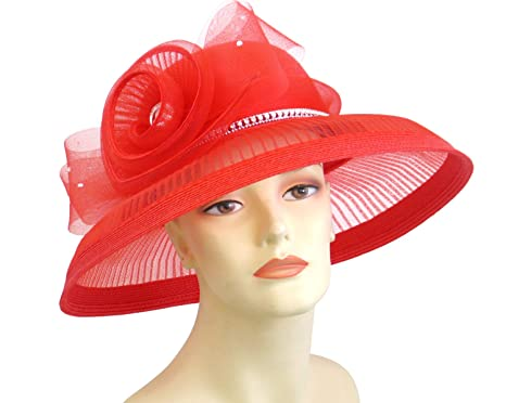 794d98f3 Womens Wide Brim Derby, Church Hat, Dressy Formal Hats #4577 (Red) at Amazon  Women's Clothing store: