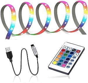 GLEHOME USB Powered LED Strip Lights with Remote Control (3.28ft 1m, 30LEDs) Color Changing 5050 RGB Low Voltage Mood Light for Monitor TV Bias, badroom Decor, Desk Gaming Easy Setup DIY Kit 3ft