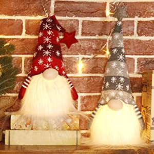 EDLDECCO Christmas Gnome with Light Timer 18 Inches Set of 2 Knitted Stars Nisse Figurine Plush Swedish Nordic Tomte Scandinavian Elf X'Mas Holiday Party Home Decor Ornaments