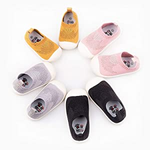 Baby First-Walking Shoes 1-4 Years Kid Shoes Trainers Toddler Infant Boys Girls Soft Sole Non Slip Cotton Mesh Breathable Lightweight Slip-on Sneakers Outdoor(Pink,4 Toddler) T15 (Color: Pink, Tamaño: 4 Toddler)